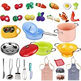 MAGIC4U Pretend Play Kitchen Toys with Colorful Stainless Steel Cookware Pots and Pans Set, Apron & Chef Hat, Pretend Cutting Food Toys, Cooking Utensils for Kids Girls, Boys, Toddlers Educational