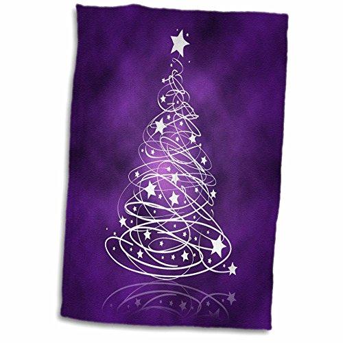 3D Rose Sparkling Christmas Tree On Purple Towel, 15' x 22', Multicolor
