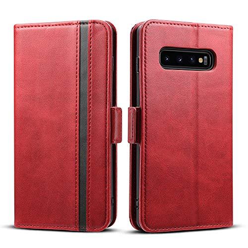 Rssviss Galaxy S10 Hülle, Samsung Galaxy S10 Handyhülle [3 Kartenfächer ] Tasche Leder Schutzhülle mit [Magnetverschluss ] für Samsung Galaxy S10 Ledertasche, Rot (W5)