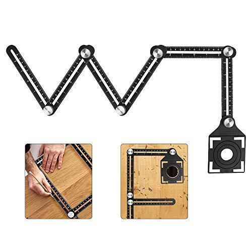 yidenguk Règle de mesure multi-angle, outil de gabarit d'angle en alliage d'aluminium, règle pliante à six faces et localisateur de poinçon en carreaux de céramique pour bricolage