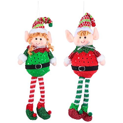 HEALLILY 2 Piezas Adornos de Elfos de Navidad Juguetes de Elfos de Peluche Árbol de Navidad de Peluche Muñeca Colgante Estatuillas de Estantes Navideños para Chimenea Árbol de Navidad
