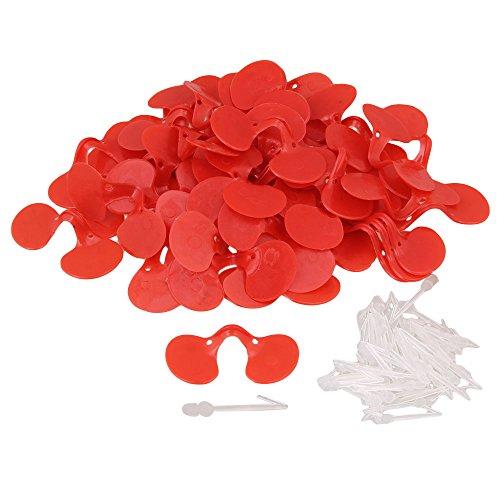 Yibuy - Gafas de plástico para Ojos de Pollo, 50 Unidades, Color Rojo, para Evitar Que Las gallinas se cuelguen Entre Otras Granjas de Pollo