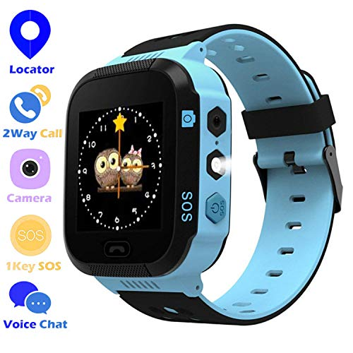 Jsbaby Game Smart Watches for Kids with 1.5'' Sensitive Colorful Touch Screen Pedometer Step Health Monitor Voice Record time Alarm Birthday for Girls and Boys (Game Blue) (bllue)