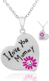 Mother's Day Jewelry Gift Necklace for Mommy ''I Love You Mommy'' Engraved Heart w/ Pink Flower Pendant Necklace Gift from Child Daughter to Mother - New Mom Jewelry - To Best Mom Ever
