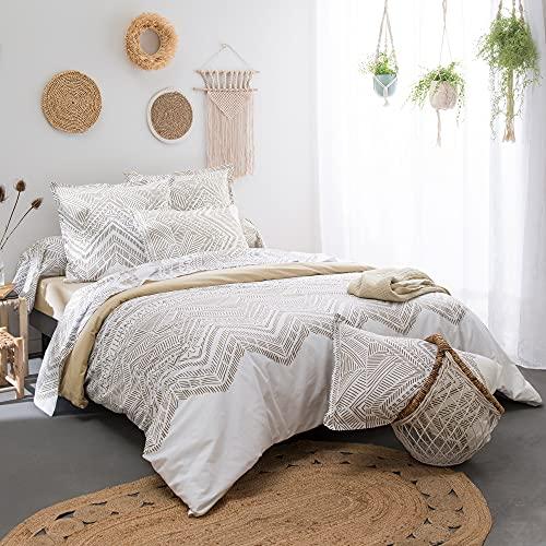 Linnea - Funda de edredón (140 x 200 cm, 100% algodón, cordel), color crudo