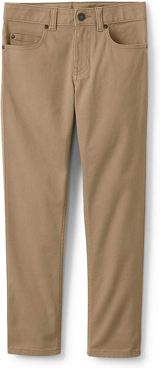 Lands' End Boys Iron Knee Stretch 5 Pocket Pant Light Beige Big Kid 14