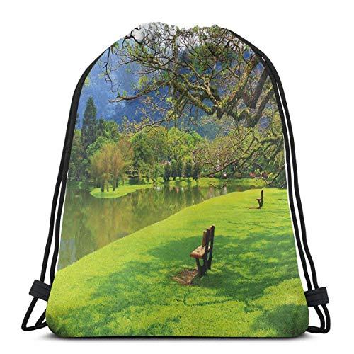 Sanme Kordelzug Rucksäcke Taschen, Panoramablick des öffentlichen Seegartens in der idyllischen Landschaft des asiatischen Parks
