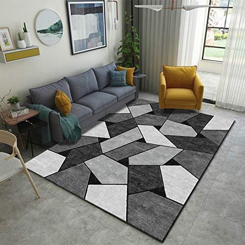 Rug Modernas Dormitorio Sala de Estar Antideslizante Mat Durable Fácil Mantenimiento Costura geométrica Cuadrada Gris Negro 60X110CM(2ft x 3.6ft)