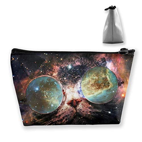 Star Galaxy Outer Space Cool Cat Trapezoide Maquillaje Bolsa