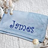 Personalized Baby Blanket for Boy or Girl - Soft and Plush Newborn Gift - Embroidered with Name (Blue)