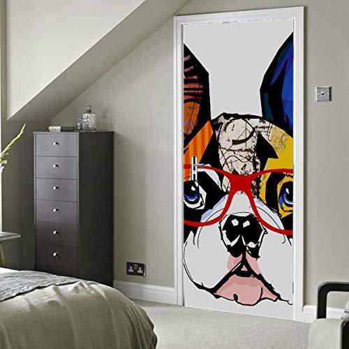 Retrato de Bulldog francés con gafas de sol Ve Vinilo autoadhesivo Extraíble Stick Papel tapiz Puerta Etiqueta de la pared 30x79 pulgadas (77x200cm) 2 piezas