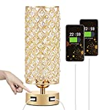 Touch Control USB Crystal Table Lamp, Aooshine Dimmable Gold Bedside Lamp with Dual USB Charging Ports, 3 Way Dimmable Touch Lamp with Gold Crystal Shade, Crystal USB Lamp for Bedrooms (Bulb Included)