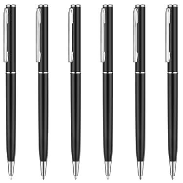 Unibene Slim Metallic Retractable Ballpoint Pens - Matte Black & Chrome, Nice Gift for Police Uniform Business Office Students Teachers Wedding, Medium Point(1 mm) 6 Pack-Black ink