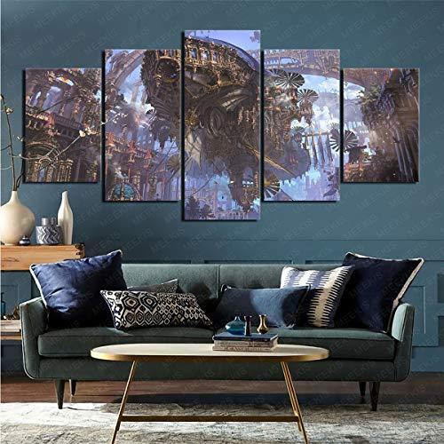 mmkow 5 Stück Sci-Fi Steampunk-Fotos auf Leinwand gedruckt Heimdekoration Schlafzimmer Wohnkultur 100x200cm (Rahmenlos)