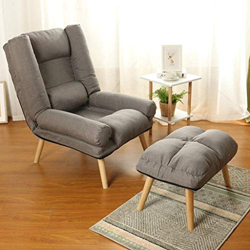 Upholstered Armchair Adjustable Reception Chair Sofa Couch Fabric Accent Chair Padded Leisure Chairs Side Chair Lounge Chair Makeup Chair Gaming Chair Computer Chair Lounge Chair with Footrest
