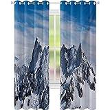 cortinas de la ventana, Pintoresco Mont Blanc Acantilado a las Nubes Idílico Medio Ambiente Trekking Monte, W52 x L72 Luz de Bloqueo de Cortinas para Vivero, Blanco Azul
