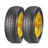 MaxAuto 2 PCS 4.10/3.50-4' Flat Free Tire Fit Hand Truck All Purpose Utility Tire,2.25' offset Hub, 5/8' Bushings, Yellow Steel