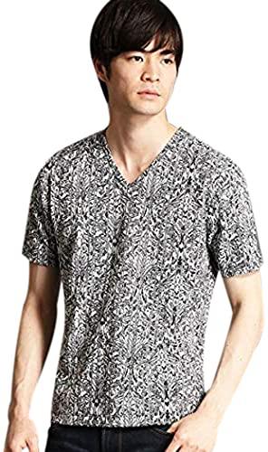 ハイダウェイ(HIDEAWAYS) アラベスク柄VネックTシャツ【49ブラック/46(M)】