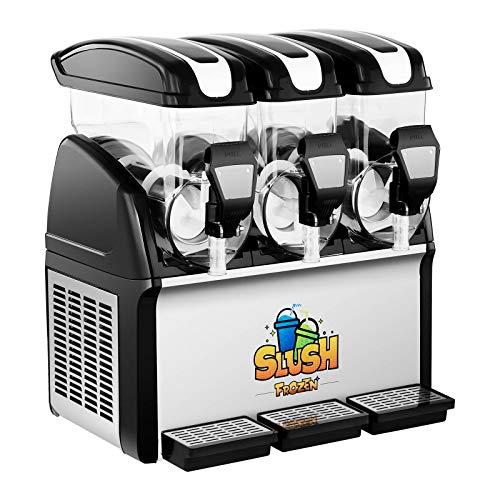 Royal Catering Máquina De Granizados RCSL 3/15 (3 x 15 L, 900 W, -2 a -3 °C, Libre de BPA, Ciclo de trabajo de 8 a 12 horas, Grado de dureza: 4 niveles)