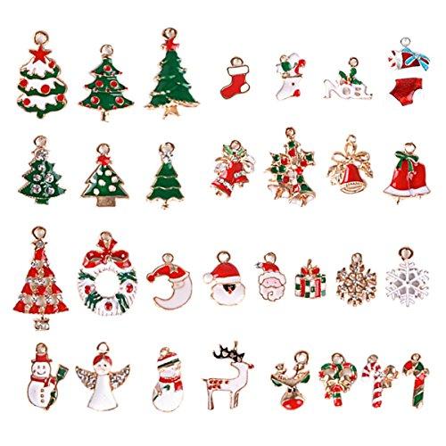 30pcs Navidad Colgantes Navideños Encantos Pendientes Decoración Mixtos para Pulsera Collar Artesanales Bricolaje Manualidades Regalo Decorativos Fiesta