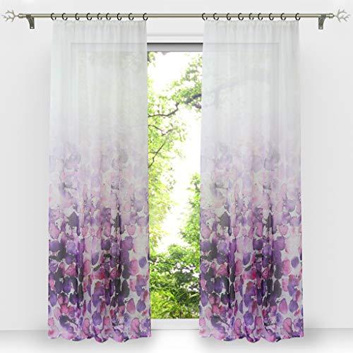 HongYa 1 Stück Voile Farbverlauf Gardine Transparenter Vorhang mit Kräuselband Blumen Druck H/B 245/140 cm