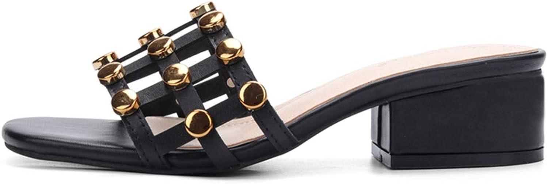Women Rivets Sandals Slippers High Heels Summer shoes Ladies Beach Mid High Heel Sandal