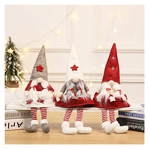 77JOK Christmas Gnome Doll - 14.5 Inches Standing Faceless Doll Plush Handmade Christmas Gnome Swedish Figurines Holiday Window Decoration Xmas Gifts Ornaments for Christmas Party Decor (B)