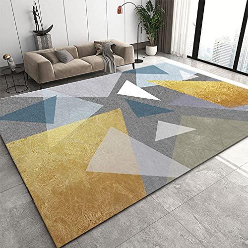 Alfombra,Alfombra De Terciopelo Suave para Sala De Estar Nordic Gold Blue Geometry Pattern Diseño Moderno Alfombra De Área Antideslizante Alfombrilla De Piso De Dormitorio Infantil Alfombr