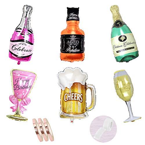 Folienballon Sektflasche Deko Set ,6 Stück Champagner Weinflasche mit Glas Helium luftballons,Riesen Inflated Aluminiumfolie Ballons für Geburtstag Urlaub Hochzeit Party Dekoration (xxxl 100cm)