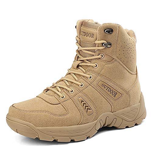 Bititger - Botas militares impermeables para hombre, de piel, con cremallera, botas tácticas y de combate para el desierto, para patrullas, seguridad, policía, color Beige, talla 46 EU