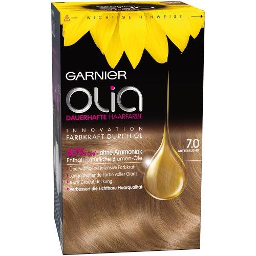 Garnier Olia Haar Coloration Mittelblond 7.0 / Färbung für Haare enthält 60% Blumen-Öle für intensive Farbkraft - Ohne Ammoniak - 1 x 1 Stück
