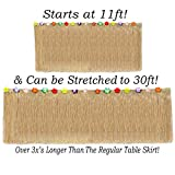 Anapoliz Hawaiian Table Skirt 11ft Long Stretches to 30ft! | (29' Tall) Brown Grass Table Skirts | Hibiscus Luau Party Decoration | Tropical Theme Decor (1 Table Skirt)