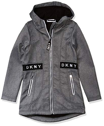 DKNY Girls' Big Fashion Outerwear Jacket, Long Softshell Heather Grey, 7/8