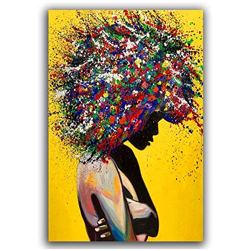 """XIANGPEIFBH Wall Art Canvas Colorful Graffiti Poster Prints Afro Big Hair Women Wall Pictures for Living Room Canvas Painting 60x90 cm/23.6"""" x 35.4"""" No Frame"""