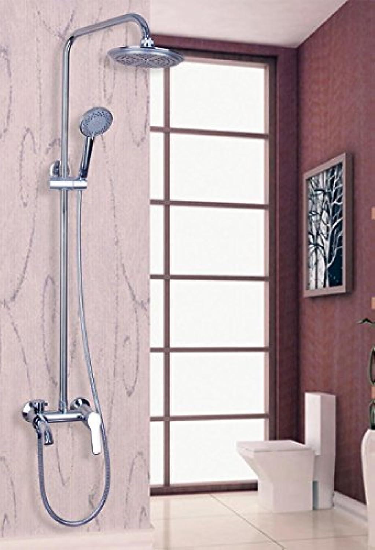 53501 8-Zoll-Regenduschkopf-Wasserhahn-Set für die Wandmontage im klassischen Stil, Chrom, Wei
