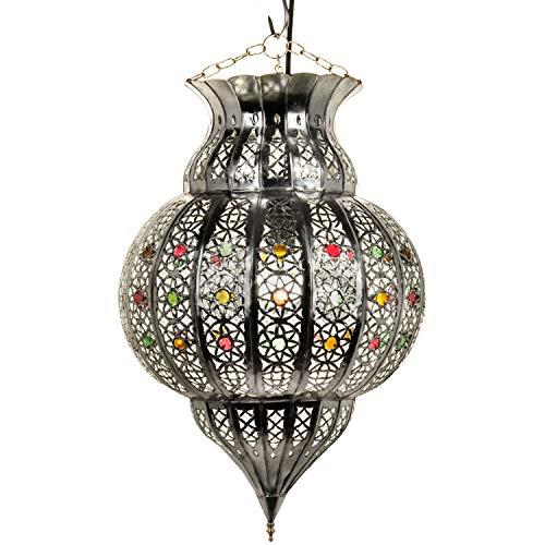 Orientalische Lampe Pendelleuchte Silber Jilan 42cm E27 Lampenfassung   Marokkanische Design Hängeleuchte Leuchte aus Marokko   Orient Lampen für Wohnzimmer, Küche oder Hängend über den Esstisch