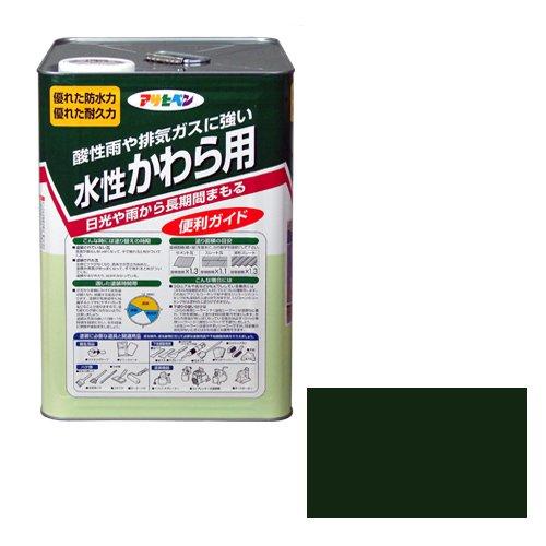 アサヒペン 水性かわら用 ツヤ有り I緑14l