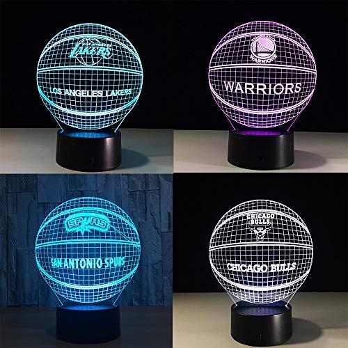 Nachtlampje 3D optische illusie, 3 W bedlampje 7 kleuren touch-afstandsbediening USB luidspreker Bluetooth voor kinderen kinderkamer verjaardag cadeau (mand)
