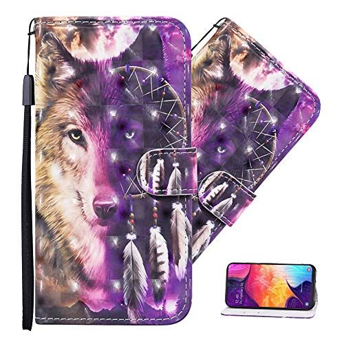 MEIKONST Galaxy A11/ M11 Case, 3D Wind Chime Wolf PU Leather Flip Wallet with Maganetic Clasp Cards Slot Kickstand Full Body Protective Cover for Samsung Galaxy A11/ M11, CYN Wind Chime Wolf