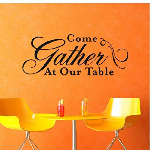 XXSCZ Kom Verzamelen aan onze tafel Vinyl Muursticker Home Interieur Ontwerp Muurstickers Citaten Keuken Kamer Decoratie Behang 57x140cm