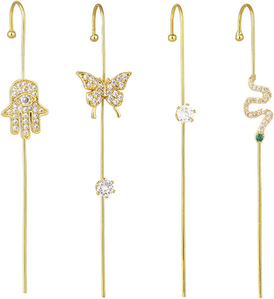 4 Pieces Snake Butterfly Palm Evil Eye CZ Ear Cuff Wrap Hook Crawler Climber Cartilage Earrings Set for Women Teen Girls Fashion 14K Plated Personalized Punk Unique Piercing Gifts Bff