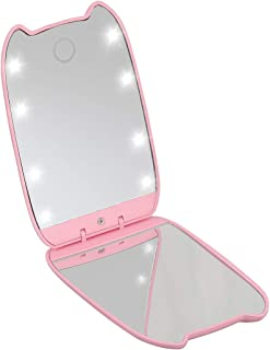 Lighted Compact Mirror with Magnification by Looife, Portable Vanity Cosmetic Mirror for Girls