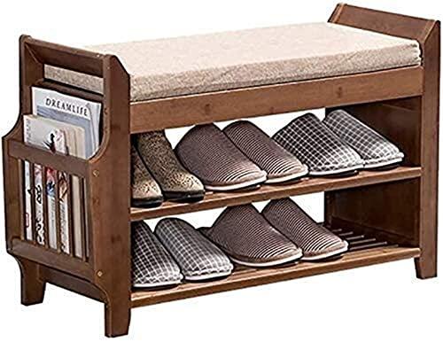 KCGNBQING Zapato Estante de zapatos Estante de madera maciza Estantería de zapatos Estante para dormitorio para sala de estar con asiento suave Taburete de cojín para Corredor Dormitorio para salón Es