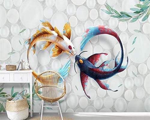 3D Tapete 3D Wallpaper Handgemalte moderne stilvolle Aquarell Koi Fish Fresco Tv Couch Hintergrund Wandmalereien 3D Wallpaper,450X300cm