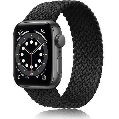 ATUP コンパチブル Apple Watch バンド 38mm 40mm 42mm 44mm,ナイロンスポーツソロループバンド交換用弾性ストラップ アップルウォッチシリーズ 適応 iWatch Series 6 5 4 3 2 1 (42mm/44mm-S, ブラック)