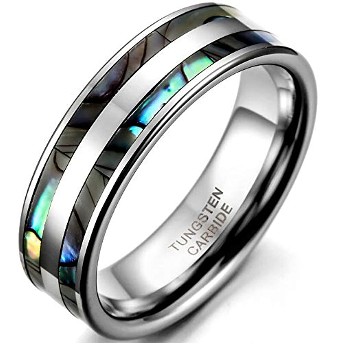 8mm Tungsten Carbide Ring with Double Abalone Shell Inlay for Men Engagement Wedding Bands Hombre