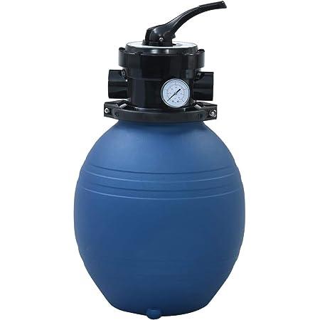 vidaXL Filtre à Sable pour Piscine avec Vanne 4 Positions Système de Filtration Pompe de Filtration Filtre pour Spa Durable Robuste Bleu 300 mm