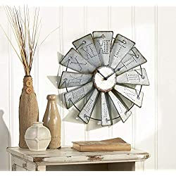 Cartener Metal Windmill Wall Clock with Distressed Finish and Roman Numerals