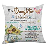 onederful Throw Pillow Cover with The Saying for Daughter from Mom and Dad,Birthday Christmas Ideas for Daughter-Believe in Yourself