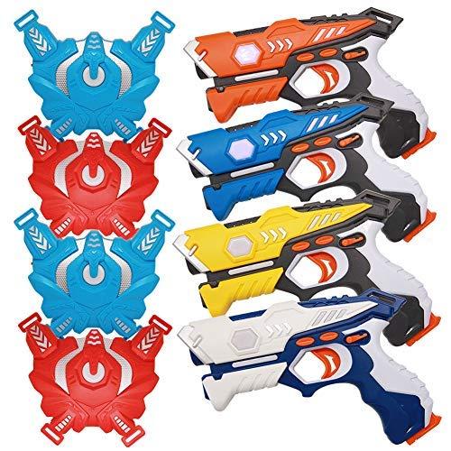 YOFIT Set of 4 Lazer Tag Toys, Infrared Laser Tag Set with Vests, Lazer Guns and Vests